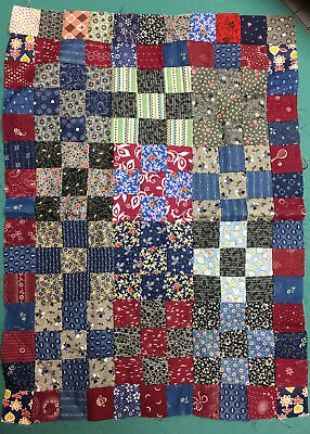 Antique Doll Size Quilt Top Unfinished 9-Patch 1880-1930
