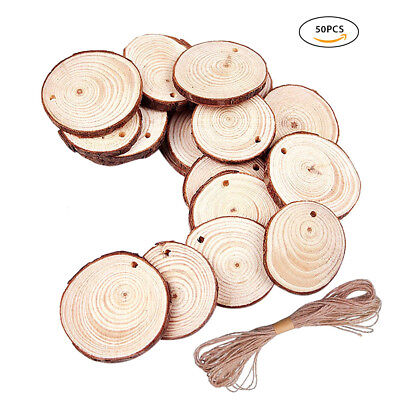 50pcs Rustic Natural Round Wood Pine Tree Slice Disc Wedding Centerpiece Decor