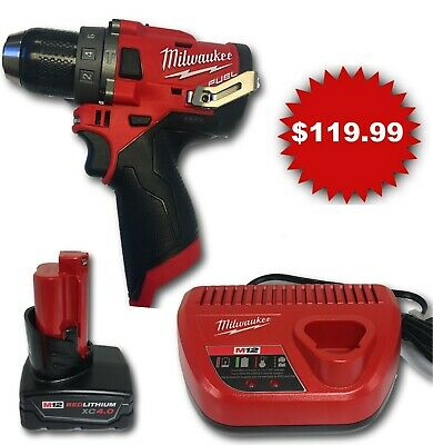 Milwaukee 2504-20 M12 FUEL Brushless Hammer Drill + (1) 4.0AH Bat + (1) Charger