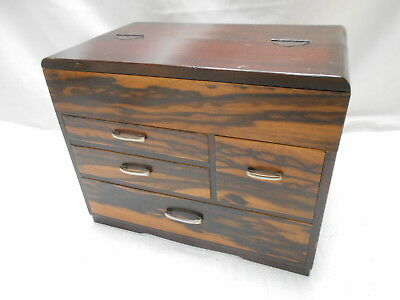 Vintage Kiri and Persimmon Wood Sewing Box Japanese Drawers C1950s #743