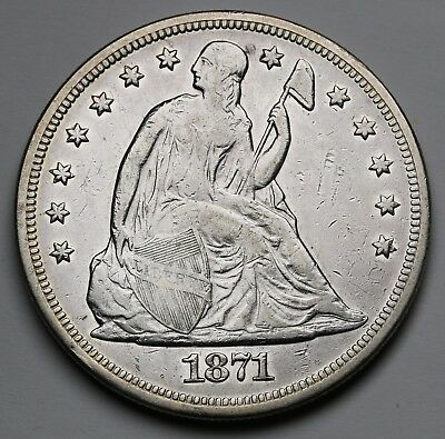 US 1871 Silver Dollar $1 Seated Liberty KM# 100 Prev. ANACS EF Details