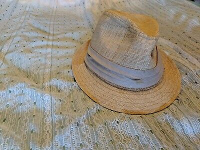 GAP STRAW FEDORA Hat New M L Navy Blue Grosgrain Ribbon Trim ... 4154a6b6356d