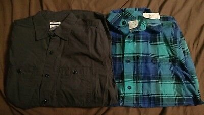 Lot of 2 New Gap Old Navy Button Up Plaid Lived In Slim Fit Gray Aqua Blue Small