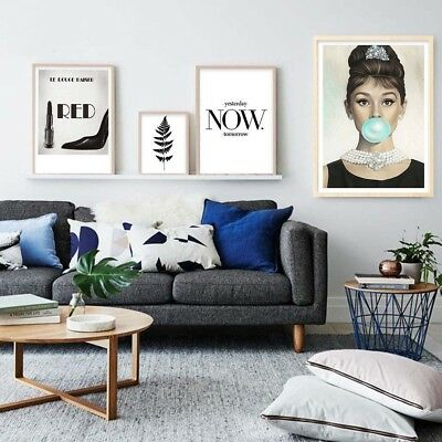 Audrey Hepburn Lipstick Canvas Poster Motivational Print Wall Art Bedroom Decor