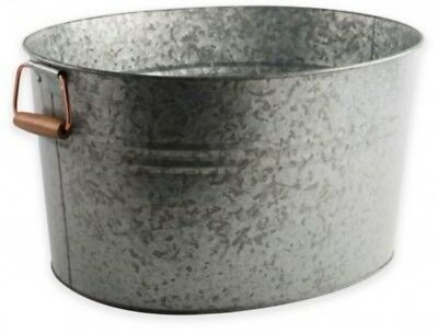 Galvanized Metal and Copper Ice Bucket Rustic Country Chic