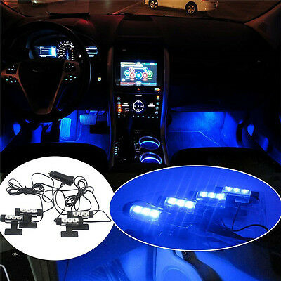 4x 3 LED Car Charge Accessories Floor Decorative Atmosphere Interior  Lamp Light