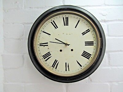 "Large 16"" Antique c 1900 White Enamel Factory Wall Clock   Vintage Industrial"
