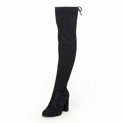 AU Free Ship Women's Thigh High Boots Over The Knee Strech Black Boots Size 5-11