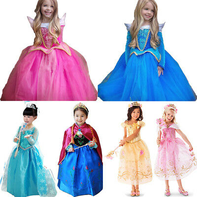 Disney Princess Belle Cinderella Dress Up Kids Girls Fancy Party Costume Cosplay