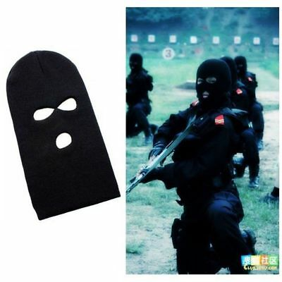 Camping Warm Cover Beanie Face Shield  Cap Black Knit Hat 3 Hole Ski Mask