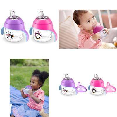 My Little Sippy Cup Soft Spout Philips Avent Pink & Purple Spill Proof 7oz 2 PC