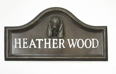 Bronze Finish Basset Dog Arched House Name Plaque