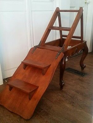 Vintage Carved Mahogany Metamorphic Library Table/Step Ladder