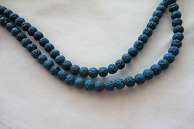 30 Sea Blue-Green 8mm Dyed Natural Lava Beads #3605