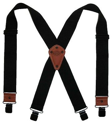 New Dickies Mens Industrial Strength Ballistic Nylon Clip End Work Suspenders BK
