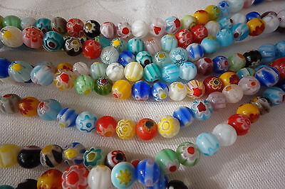 50 Round Millefiori Beads 6mm Mixed Colours #3661 Combine Postage-See Listing
