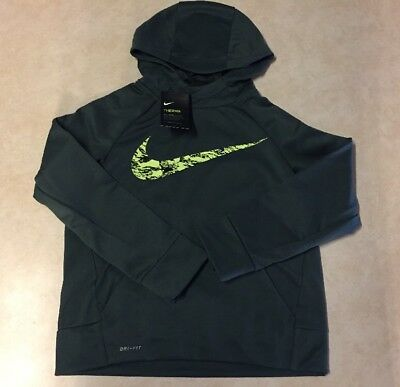 NIKE BOYS YOUTH Hoodie Therma Fleece Sweatshirt GREEN VOLT 856141 372 MED $40