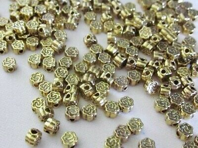 100 Antique Gold Coloured 4mmx3mm Flower Spacer Beads #sp3437 Jewellery Making