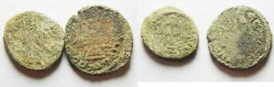 ZURQIEH -as2649- ARAB-BYZANTINE. LOT OF 2 AE FILS COINS. AS FOUND