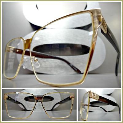 New OVERSIZED VINTAGE RETRO CAT EYE Style Clear Lens EYE GLASSES Rose Gold Frame