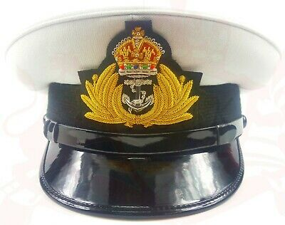 Royal Navy Officer Cap, Naval Peak Cap, R N Cap Bullion Badge Military Hat