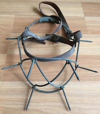Old Vtg Antique Farm Animal Face Mask Guard ? Metal Wire Spike Leather Strap