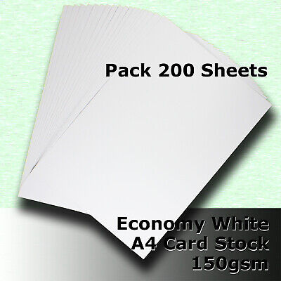 200 Sheets Economy Card Stock WHITE A4 Size 150gsm #H5108