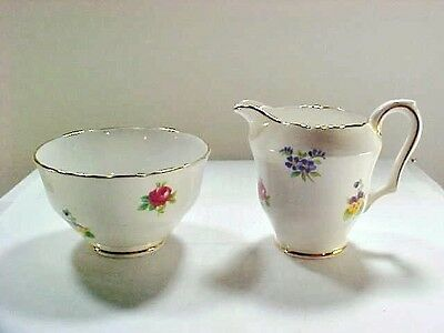 Crown Staffordshire China, England, Mini Creamer and Sugar Bowl - Floral Bouquet