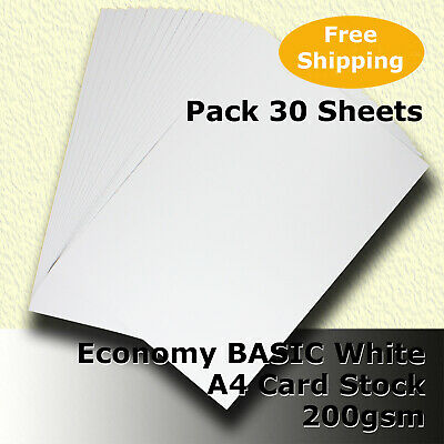 30 x Economy 200gsm WHITE A4 Size Card Stock  General Purpose #H5208 #DLHH