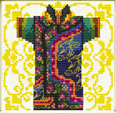 No Count Cross Stitch Kit, Male Geisha Green, 12 x 12cm