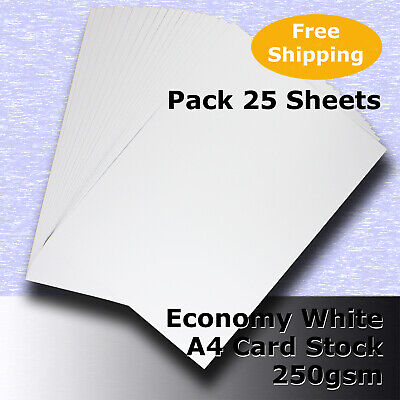 25 Sheets Economy WHITE A4 Size 250gsm Blank Card Stock G Purpose #H5308 #DLHH