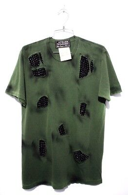 DOMREBEL DOM REBEL Vintage Collection Grunge T-Shirt Cut-Out Green M Crystals