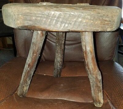 Antique Wooden 3 Legged Milk Stool