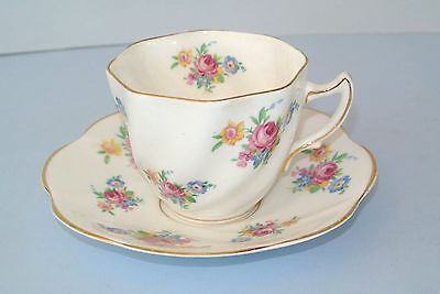 Vintage Queens Rosina Bone China Pink Blue Yellow Flowers #5024 Cup & Saucer