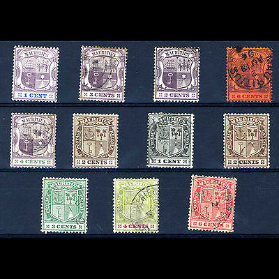 MAURITIUS Selection of 11 Values. Condition Varies. (AM242)