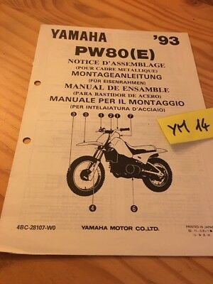 Yamaha PW80 E 1993 PW 80 Peewee instruction preparation setup manuel montage