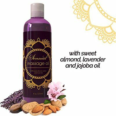 Sensual Massage Oil Pure Lavender Relaxing Natural Hypoallergenic 8 oz