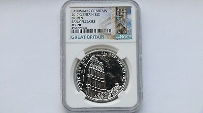 2017 Great Britain £2 Silver Landmarks Big Ben Early Release NGC MS70 1 oz #008