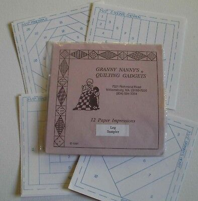 """Granny Nanny's Quilting Gadgets - 12 Log Cabin patterns - patchwork 3.5"""" squares"""