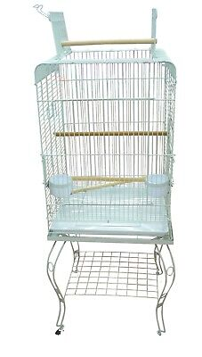 130cm Bird Cage Parrot Aviary Pet Stand-alone Budgie Perch Castor Wheels Large