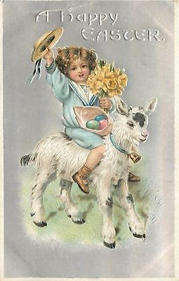 Easter~Little Girl Rides Lil Goat~Waves Straw Hat~Eggs~Silver Back~Embossed~1909