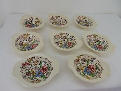 "8 Vernonware Mayflower Vernon Kilns Glaze Hand Painted 6"" Chowder SOUP BOWLS"