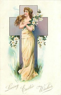 Easter~Beautiful Lady Crosses Arms~Leans on Lavender Cross~Embossed~TUCK 1905
