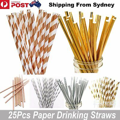 25x ROSE GOLD FOIL Metallic Paper Straws for Birthday Hens Party Wedding Straw