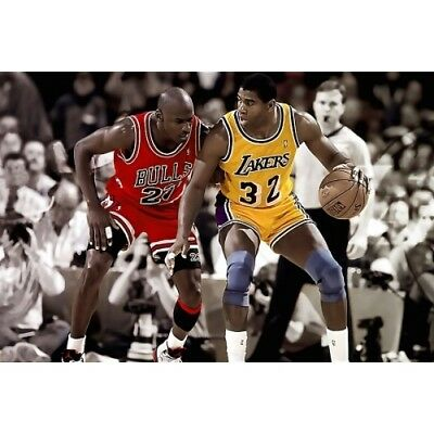 Michael Jordan & Magic Johnson - NBA - Chicago Bulls Lakers - Basketball Poster