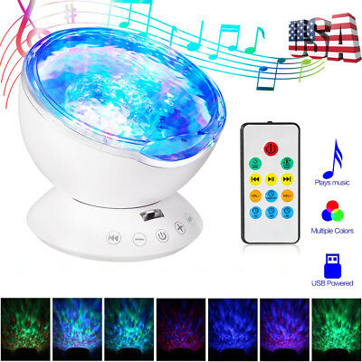 Ocean Wave Projector Remote Sleep Night Light 7 Color Music Player Bedroom Decor
