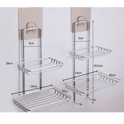 Bathroom Stainless Steel Suction Cup Soap Dish Drain Tray Holder Storage Rack