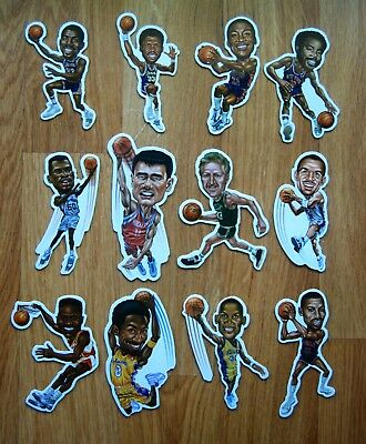 NBA Player Caricature Fridge Magnets, Kobe Bryant, Larry Bird, Reggie Miller...