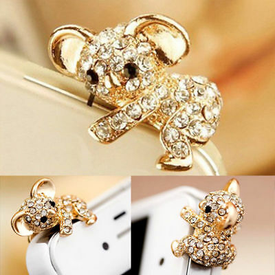 3.5mm Crystal Koala Ear Cap Anti Dust Jack Plug Stopper Cover For IPhone Samsung