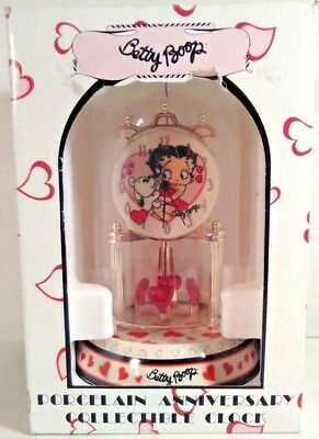 New Betty Boop Porcelain Anniversary Collectible Clock 2010 Glass Dome In Box